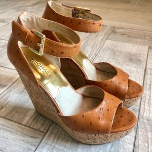 Michael Kors Ostrich wedges, Size 7